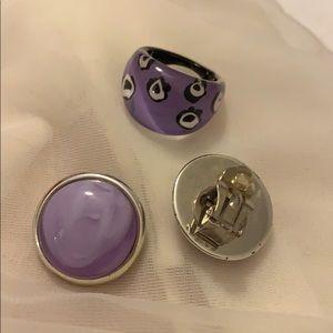 Vintage Purple Clip Earrings & Ring Set